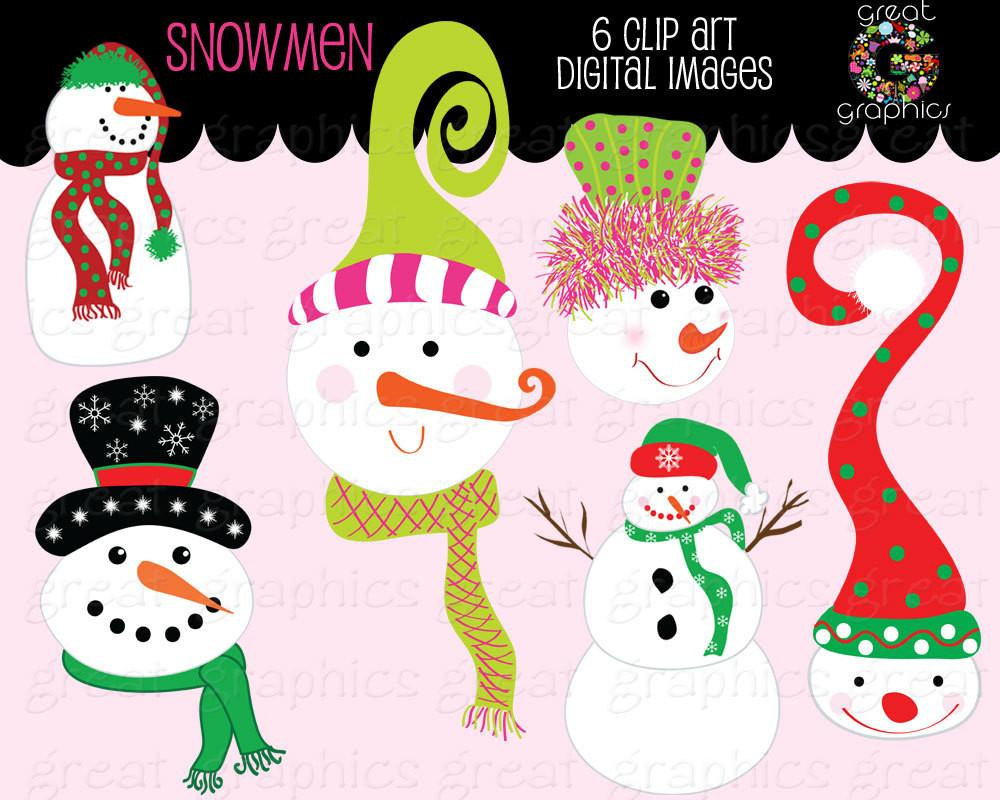 Whimsical snowman clipart picture freeuse download Snowman Clipart Whimsical Christmas Snowman Clip Art Snowman Digital Clip  Art Invitation Clipart - Instant Download picture freeuse download