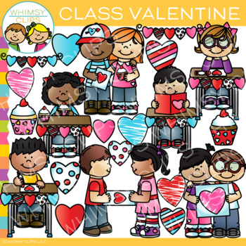 Whimsy clips clipart celebration clip art black and white Class Valentine Clip Art by Whimsy Clips   Teachers Pay Teachers clip art black and white
