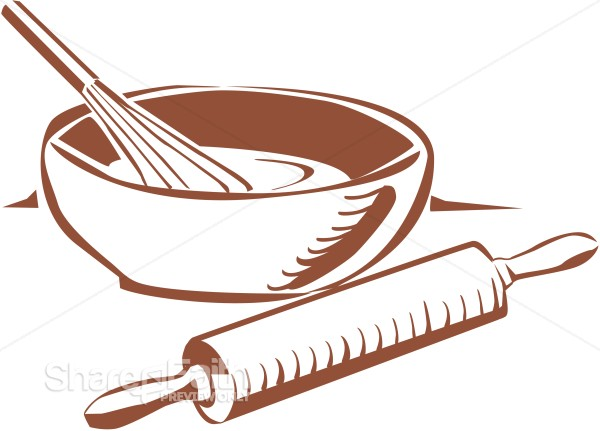 Whisk and rolling pin clipart picture free download Bakers Bowl and Rolling Pin   Church Food Clipart picture free download