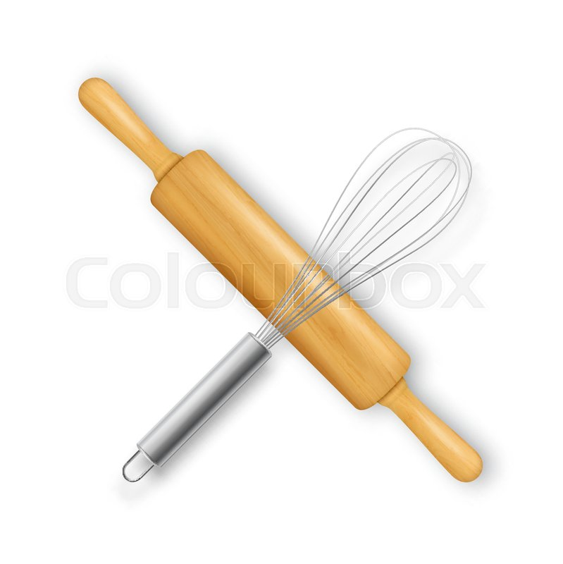 Whisk and rolling pin clipart banner royalty free library Vector realistic 3D wooden rolling pin ...   Stock vector ... banner royalty free library