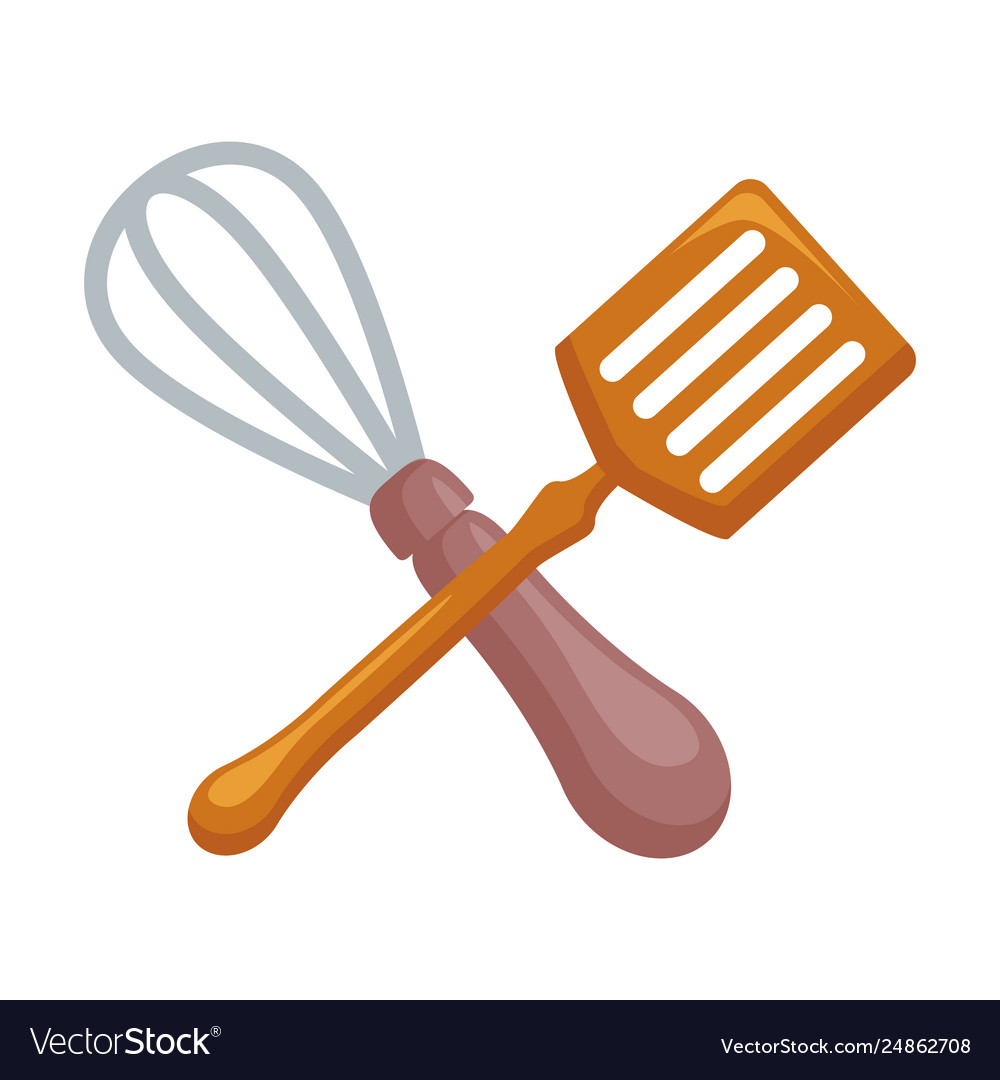 Whisk and spatula crossing clipart svg black and white library Cutlery kitchen crossed whisk and skimmer svg black and white library