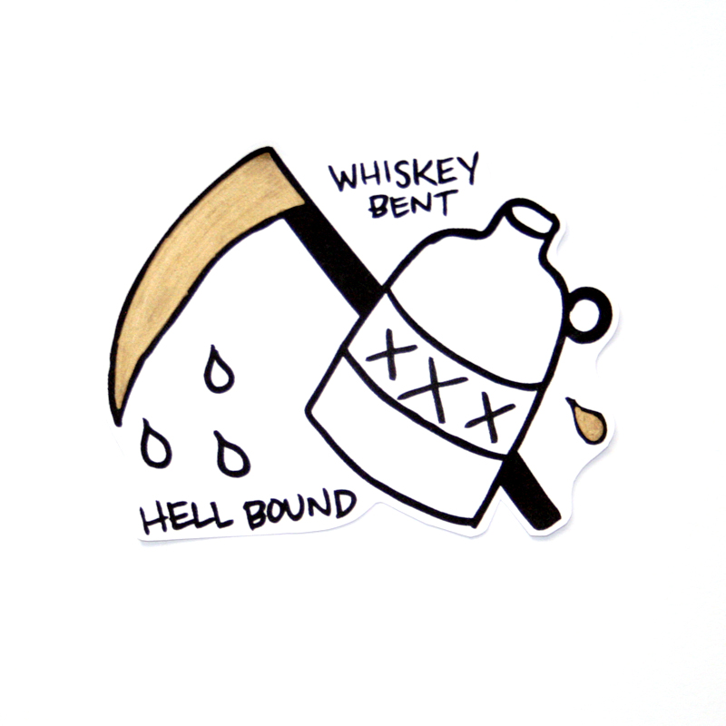 Whiskey bent andhell bound clipart vector transparent stock Whiskey Bent & Hell Bound Sticker — BELOW vector transparent stock