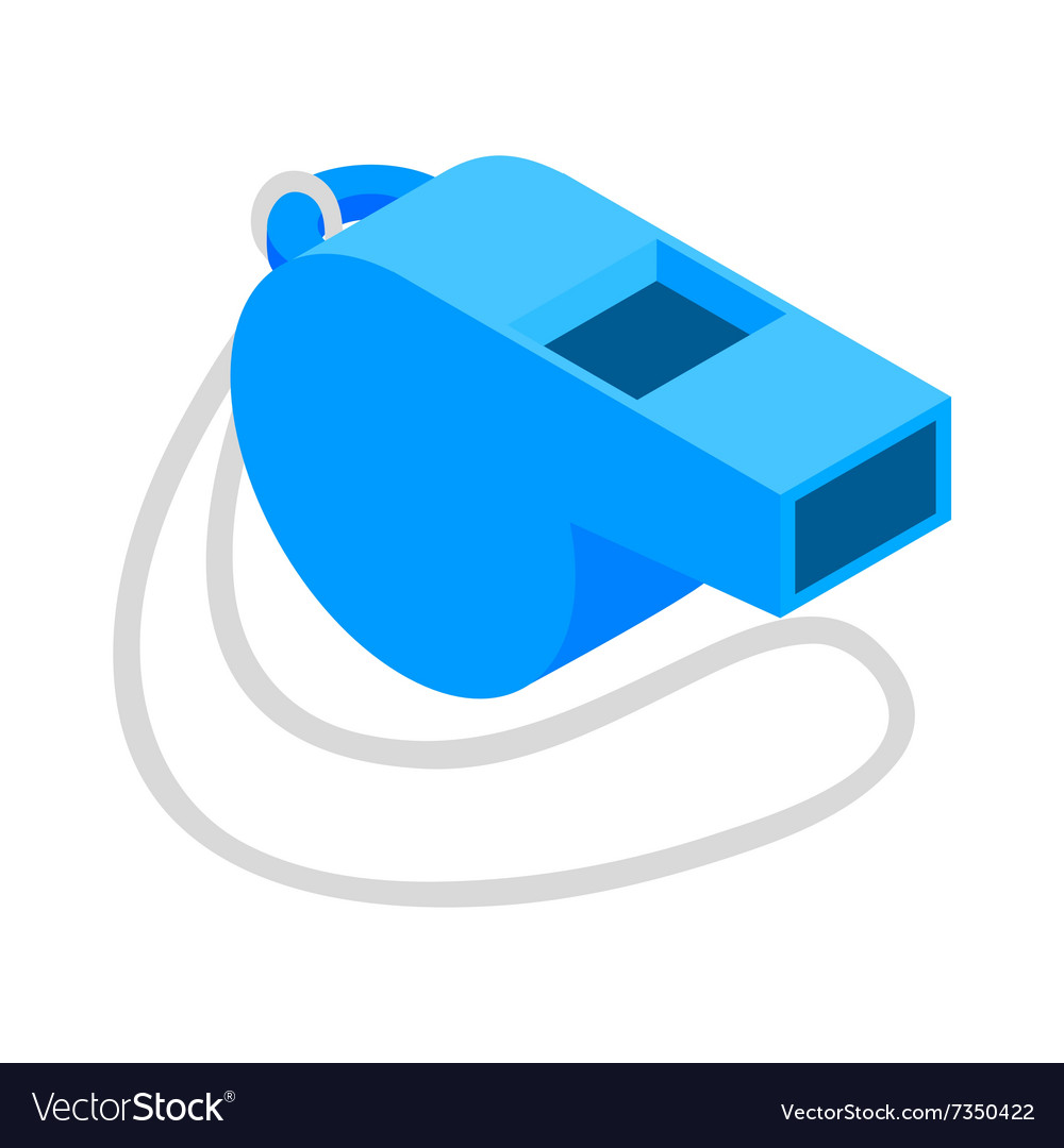 Whistle clipart vector clip transparent download Blue sport whistle on a white cord isometric icon clip transparent download