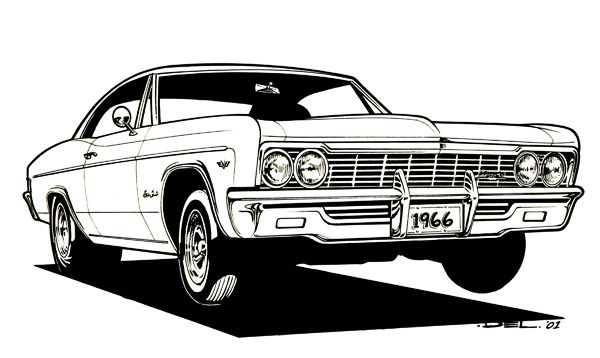White 2002 chevy impala ss front view clipart vector royalty free download CARtoons and Hot Rods - Swanson Artworks | Coloring Book ... vector royalty free download