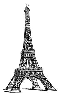 White and black eiffel tower drawing side view clipart clipart royalty free download Vintage line drawing of the Eiffel Tower   Free Vintage Clip ... clipart royalty free download