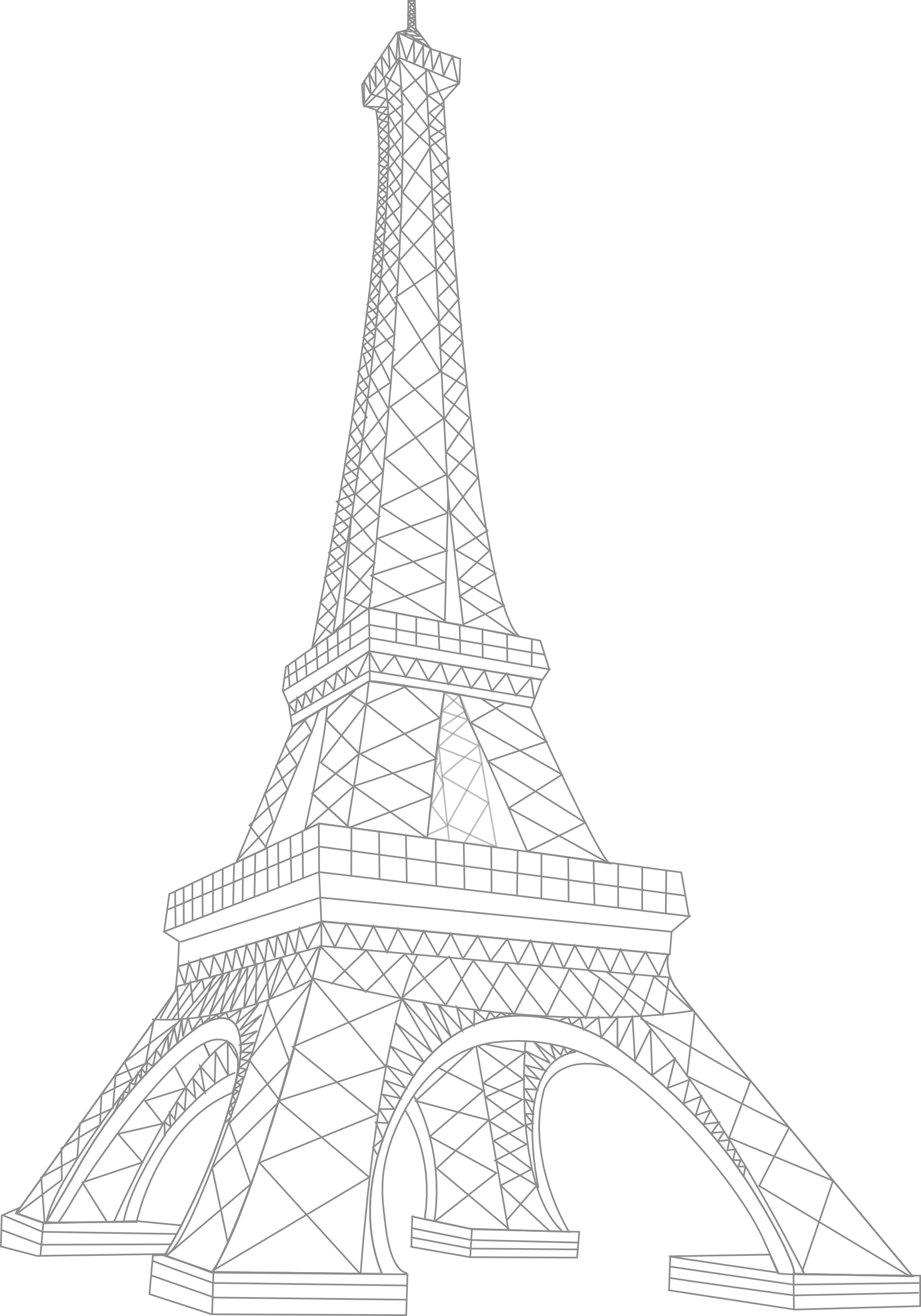 White and black eiffel tower drawing side view clipart