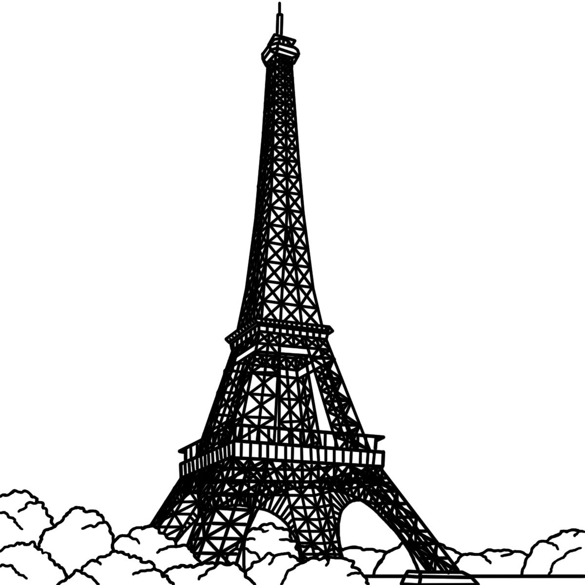 White and black eiffel tower drawing side view clipart jpg download eiffel tower - Google Search   Paris...I love Paris & all ... jpg download