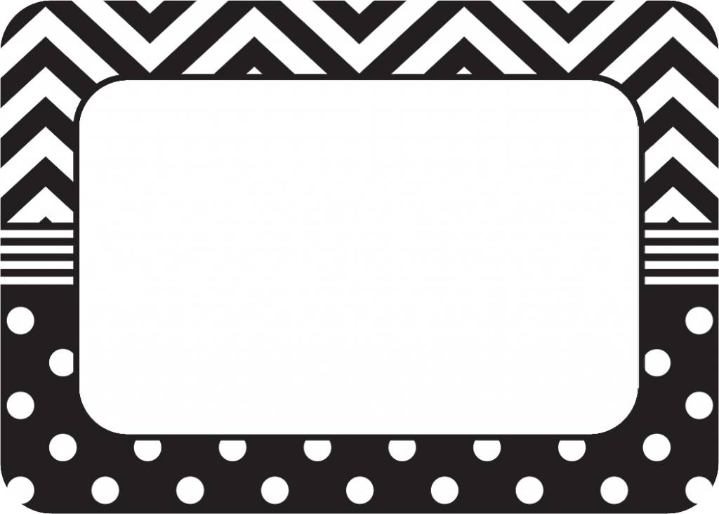 White and black label clipart graphic freeuse Black & White Chevrons and Dots Name Tags/Labels graphic freeuse