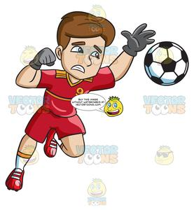 White and red goal clipart royalty free A Male Soccer Goal Keeper Defending His Home Goal royalty free