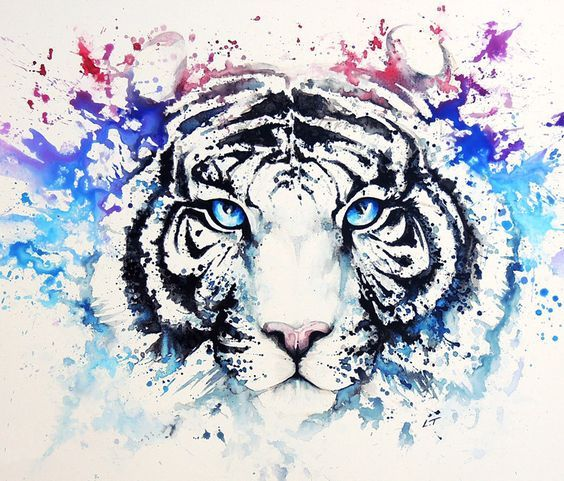 White begal tiger with blue eyes clipart jpg freeuse download Watercolor Blue Eyes White Tiger Head Tattoo Design ... jpg freeuse download