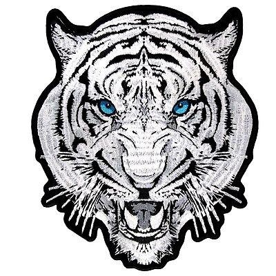 White begal tiger with blue eyes clipart picture black and white stock WHITE TIGER Blue EYES Biker BEAUTIFUL Embroidered Motorcycle BACK Patch  LRG-0534 - Heygidday picture black and white stock