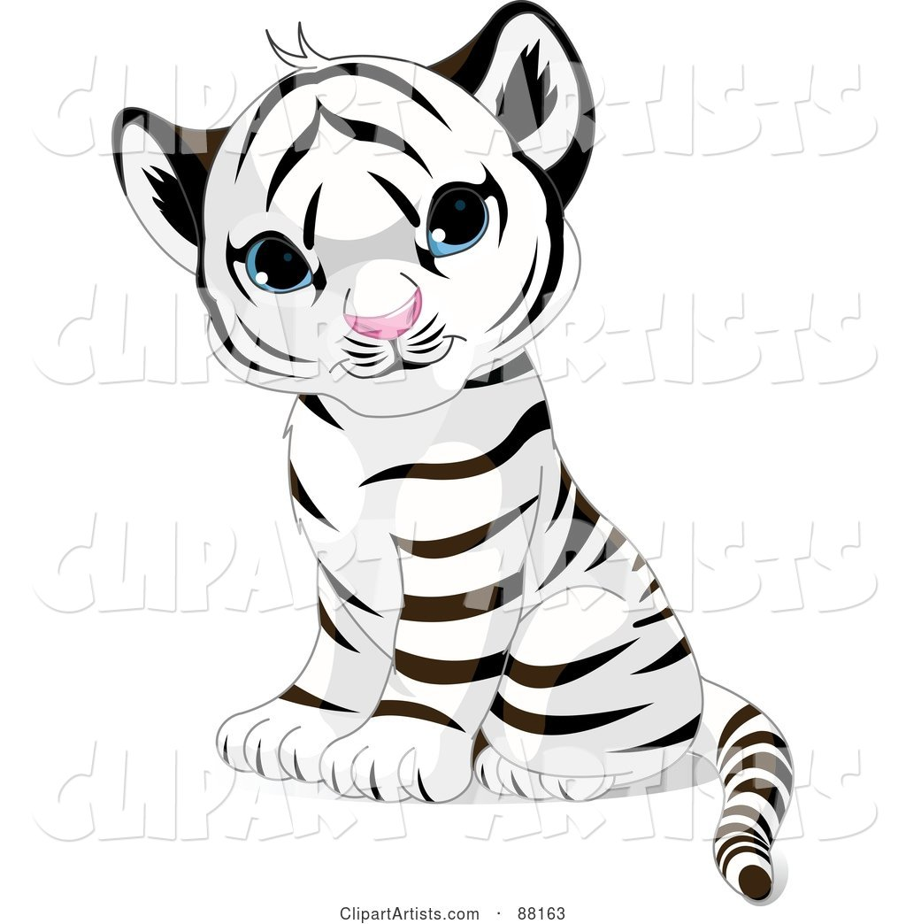 White begal tiger with blue eyes clipart svg free download Adorable Sitting Baby White Tiger Cub With Blue Eyes Clipart ... svg free download
