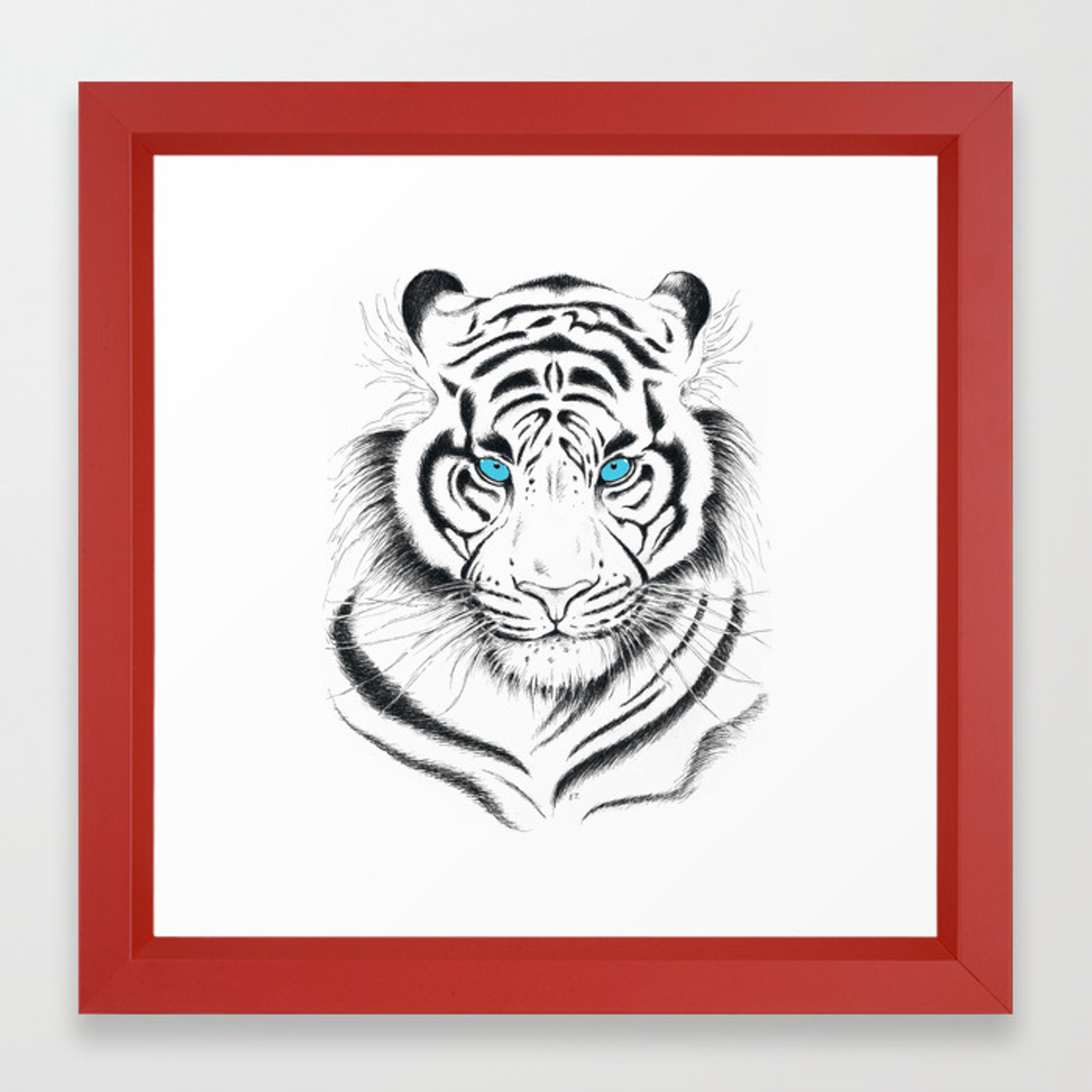 White begal tiger with blue eyes clipart clip art freeuse stock White Bengal tiger Blue Eyes Ink Art Framed Art Print clip art freeuse stock