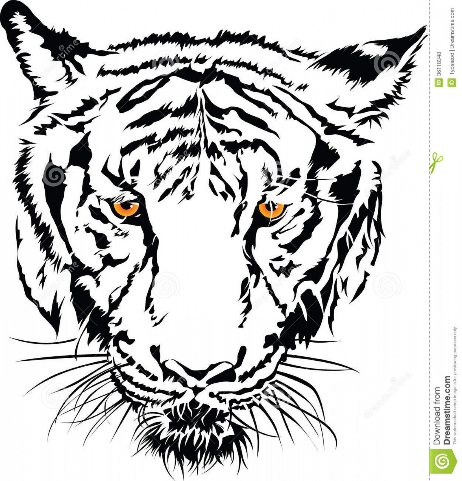 White bengal tiger head with blue eyes clipart