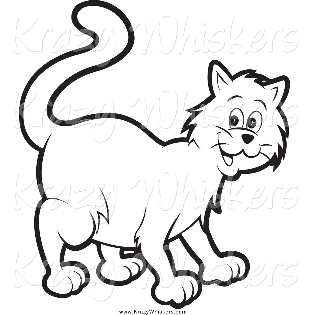 White cat tail clipart graphic library Critter Clipart of a Happy Black and White Cat by Lal Perera ... graphic library