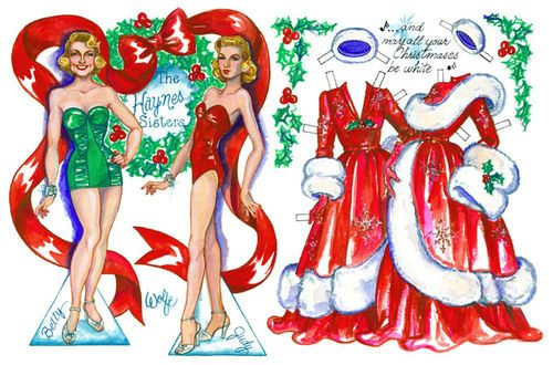 White christmas movie clipart free stock Haynes sisters from White Christmas paper dolls | Paper Doll ... free stock