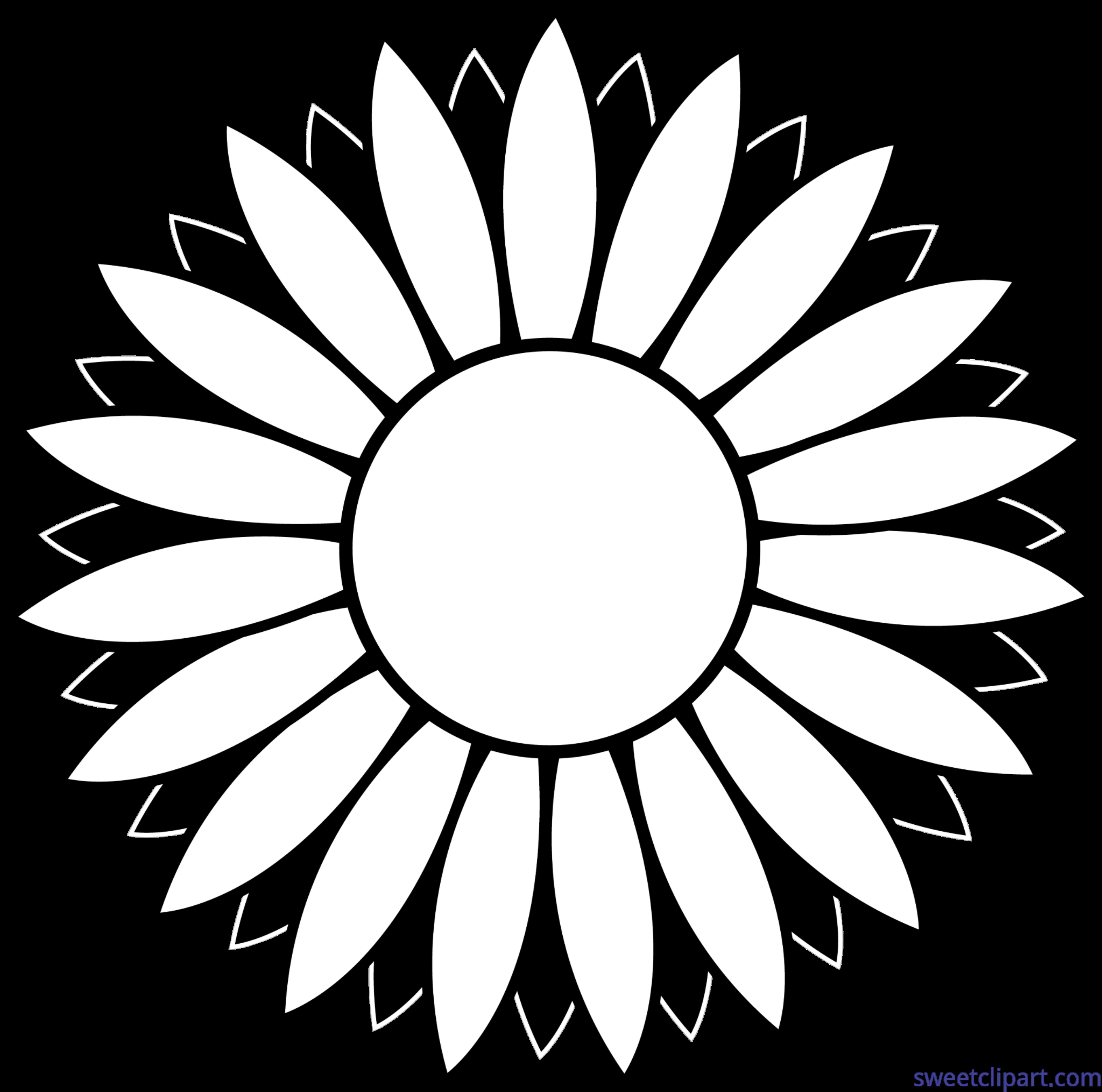 White clipart flower vector black and white download Flower Sunflower Black And White Lineart Clip Art - Sweet Clip Art vector black and white download