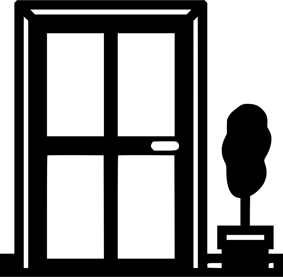 White clipart front door vector HD Front Door Comments - Black And White Door And Window ... vector