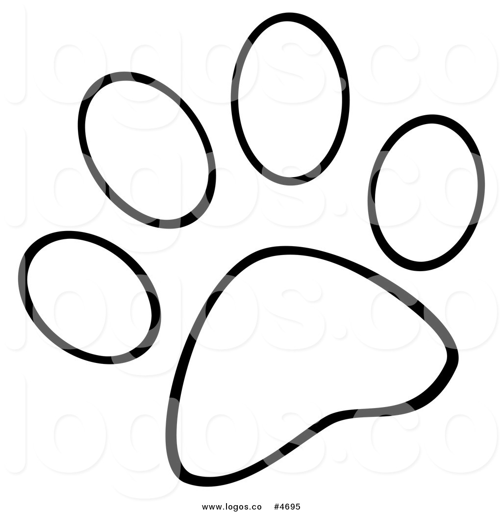 White dog paw print clipart vector black and white Royalty Free Logo of a Black and White Dog Paw Print by Hit ... vector black and white
