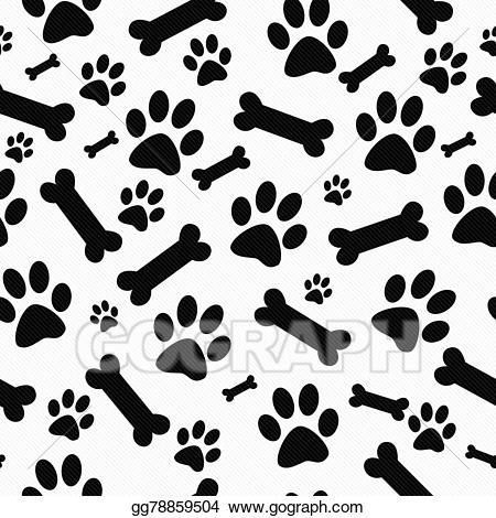 White dog paw print clipart graphic transparent download Drawing - Black and white dog paw prints and bones tile ... graphic transparent download