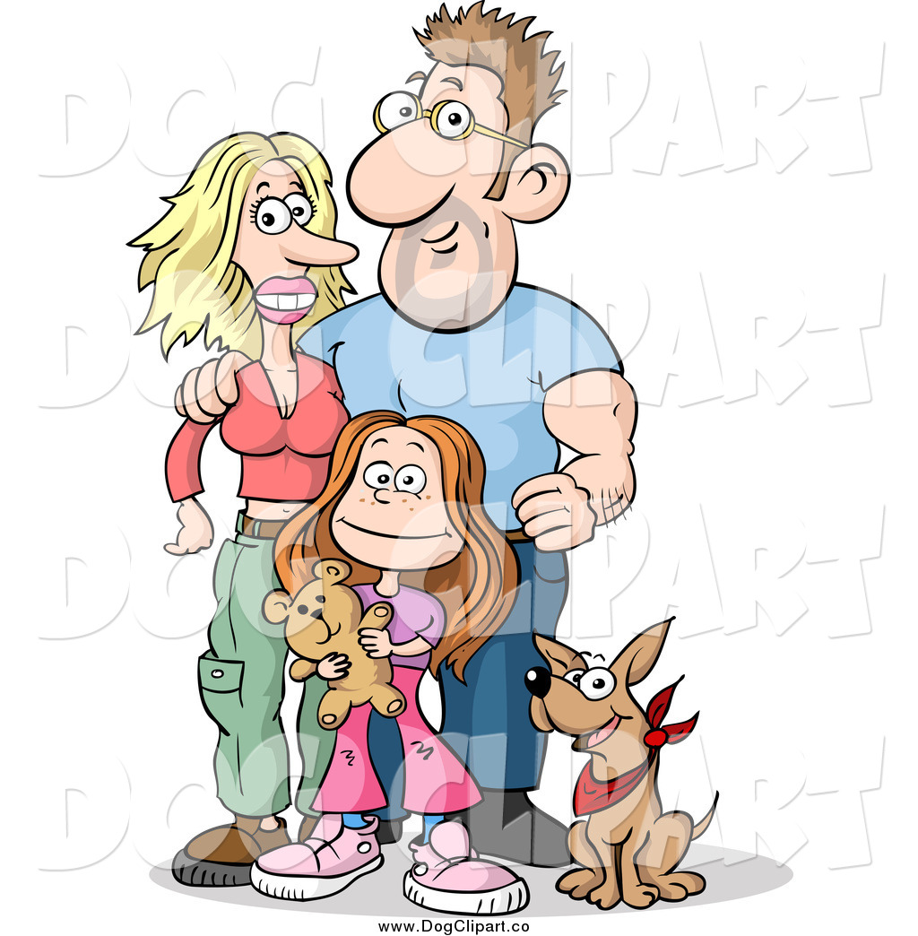 White dog with family clipart vector freeuse stock Vector Clip Art of a Happy White Family of Three; Mom, Dad ... vector freeuse stock