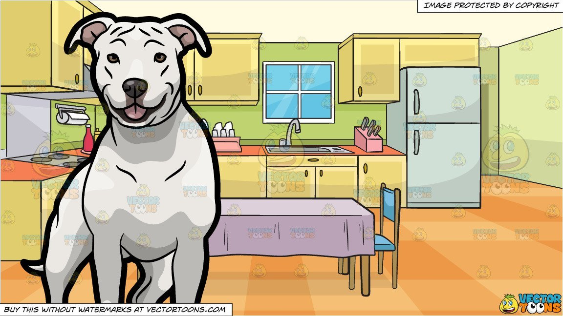 White dog with family clipart clip black and white library A White American Staffordshire Terrier Pet Dog and A Family Kitchen With A  Dining Table And Two Chairs Background clip black and white library