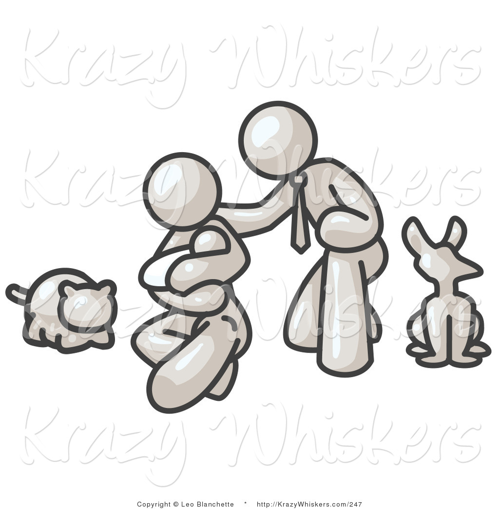 White dog with family clipart graphic transparent download Critter Clipart of a White Family, Father, Mother and ... graphic transparent download