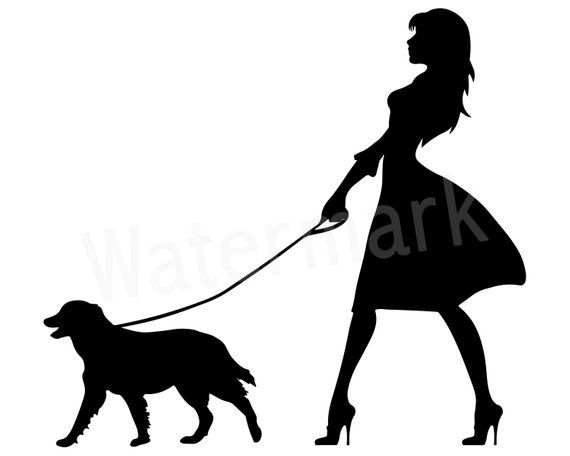 White dog with family clipart image black and white library Dog Walker SVG, Woman Walking Dog, Canine SVG, Dog Lover ... image black and white library