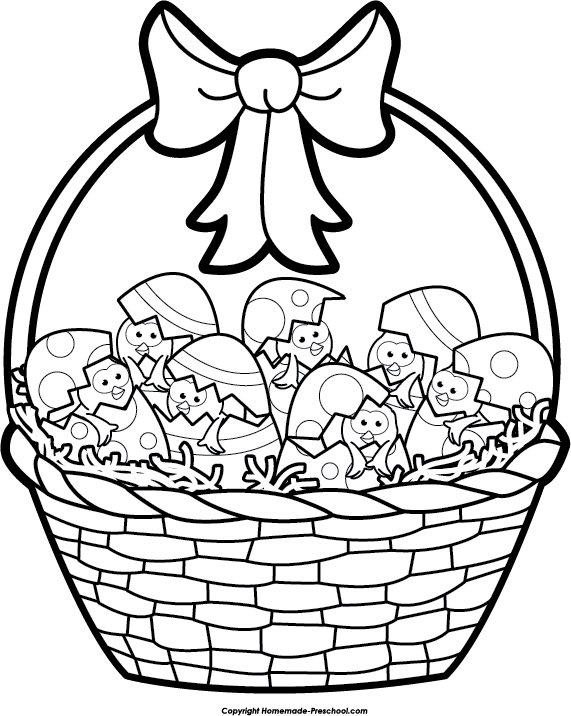 Easter happy . Basket of apple clipart black and white