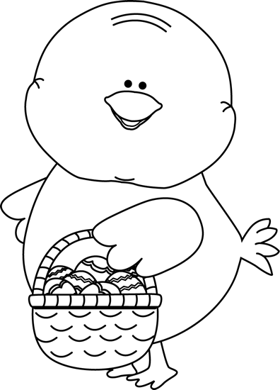 White easter basket clipart clipart free library Black and White Chick Carrying Easter Basket Clip Art - Black and ... clipart free library