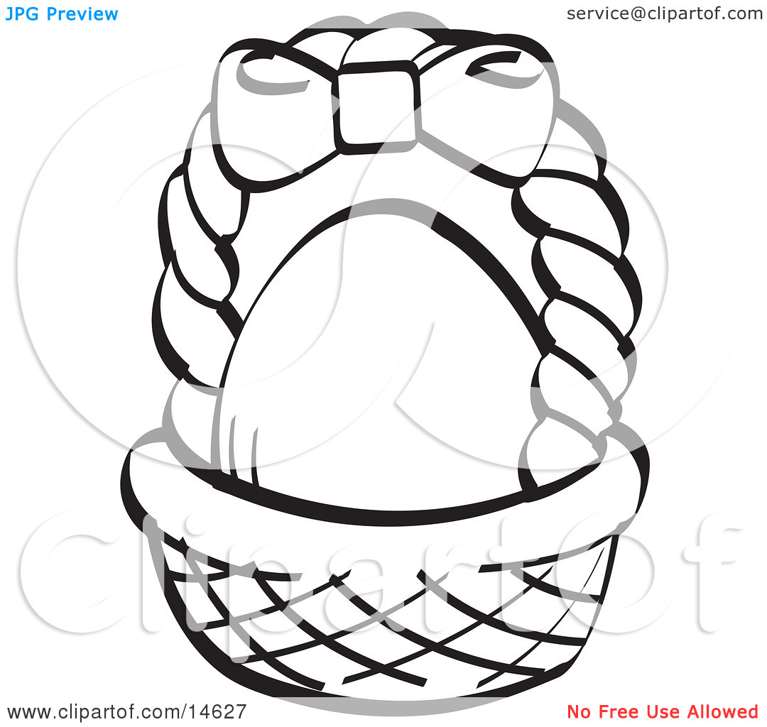 White easter basket clipart jpg transparent library Egg In A Brown Easter Basket With A Pink Bow On The Handle, Black ... jpg transparent library