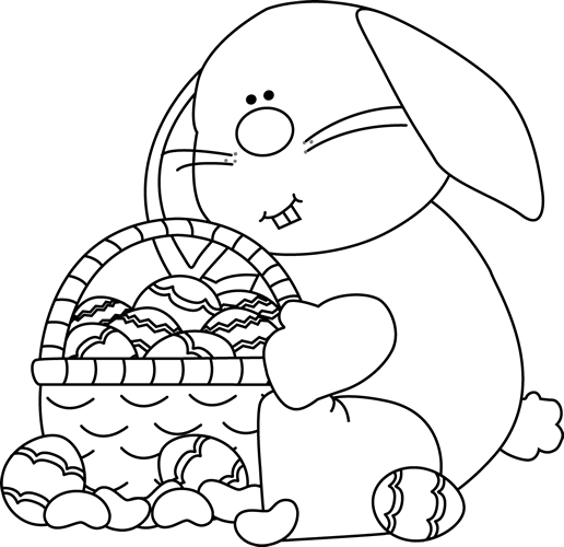 White easter basket clipart clipart black and white library Easter Bunny Clip Art - Easter Bunny Images clipart black and white library