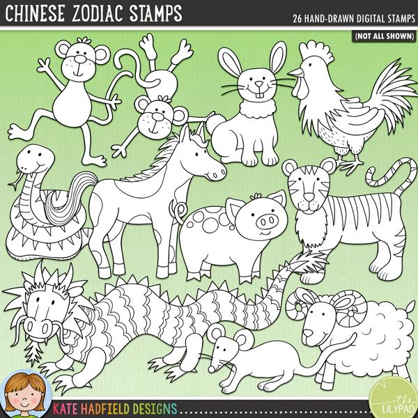 White fill zodiac clipart image black and white library Chinese Zodiac Stamps image black and white library