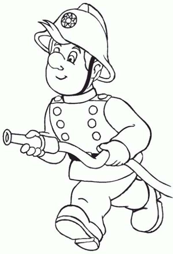 White fireman clipart clip art Fireman, : Fireman Running with Water Hose Coloring Page ... clip art
