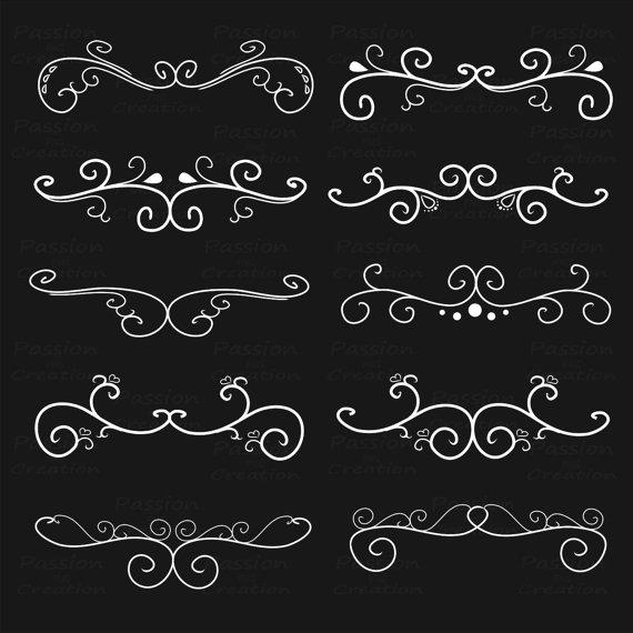 White flourish clipart picture free download White Flourish Swirls, Border Calligraphy, Decorative ... picture free download