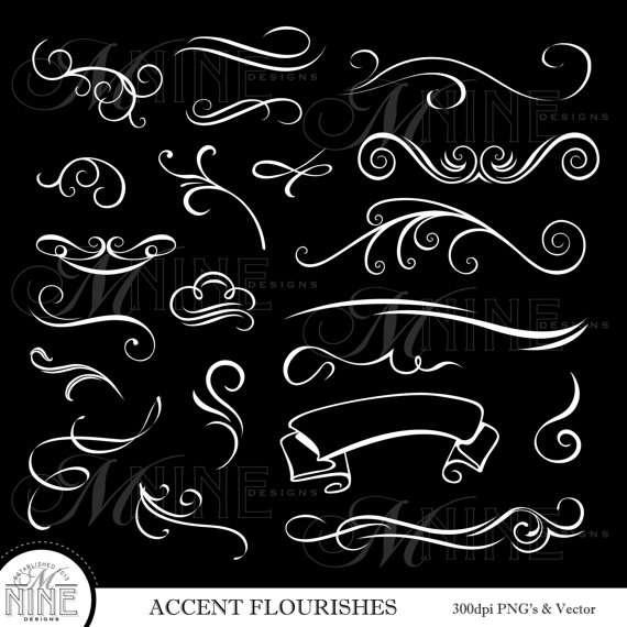 White flourish clipart image royalty free WHITE ACCENT FLOURISHES Digital Clipart, Instant Download ... image royalty free
