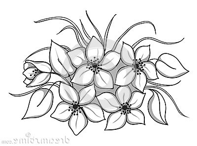 White flower bunch clipart free png download Free Flowers Black And White Clipart, Download Free Clip Art ... png download