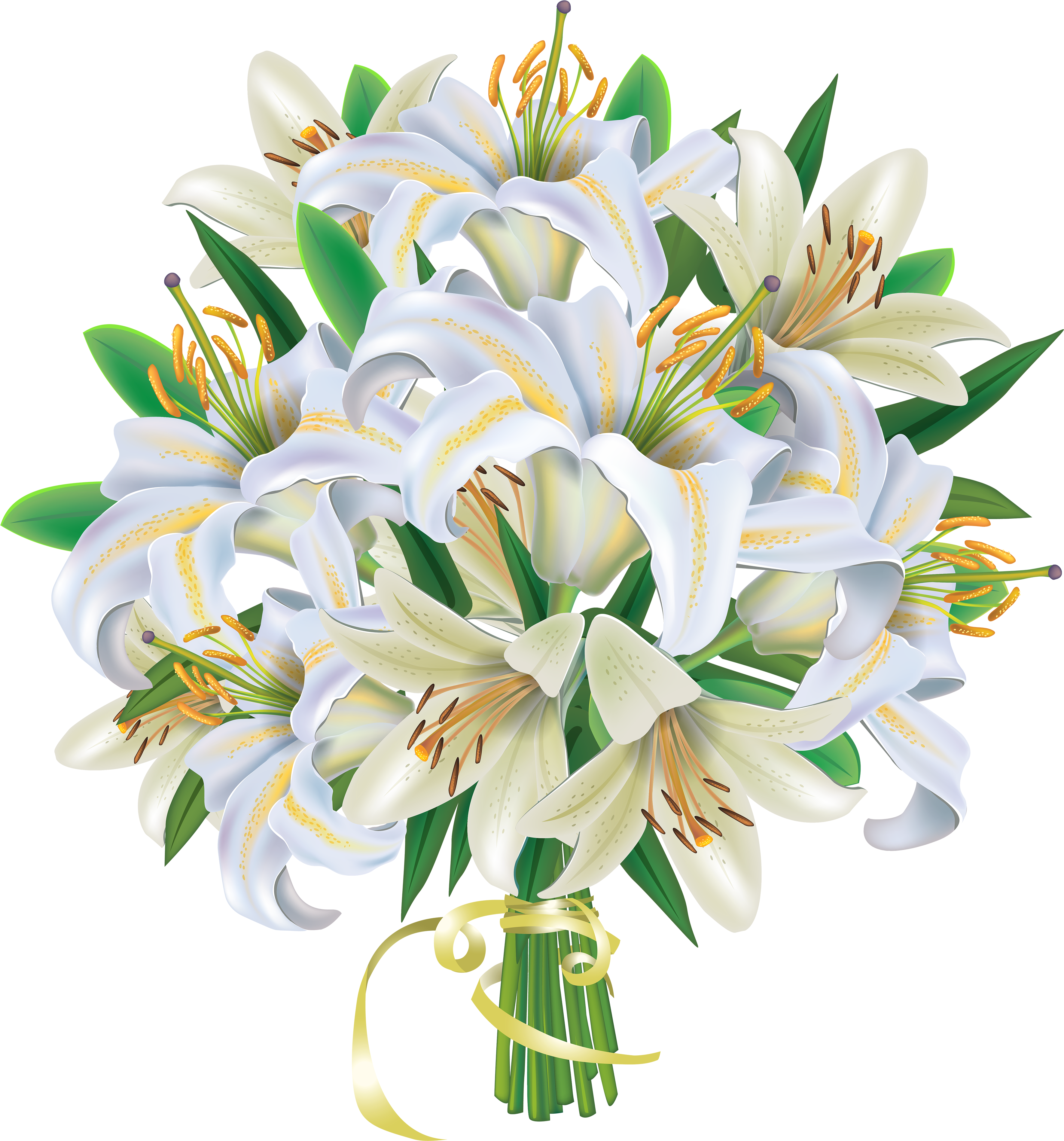 White flower bunch clipart free clipart black and white HD Banner Free Stock Lilies Flowers Png Clipart Image ... clipart black and white