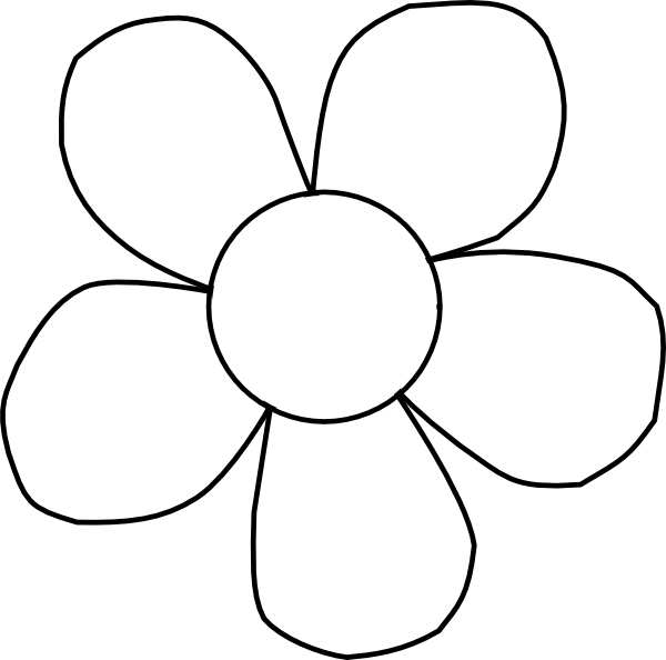 White flower clipart png vector free library Black And White Daisy Clip Art at Clker.com - vector clip art ... vector free library