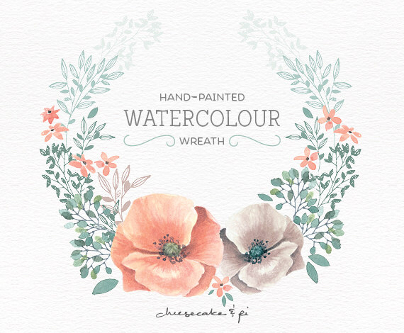 White flower green center watercolor clipart png