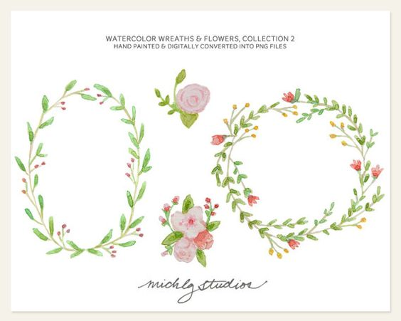 White flower green center watercolor clipart png transparent library Watercolor wreath clipart PNG Wreaths & Flower digital clip art ... transparent library