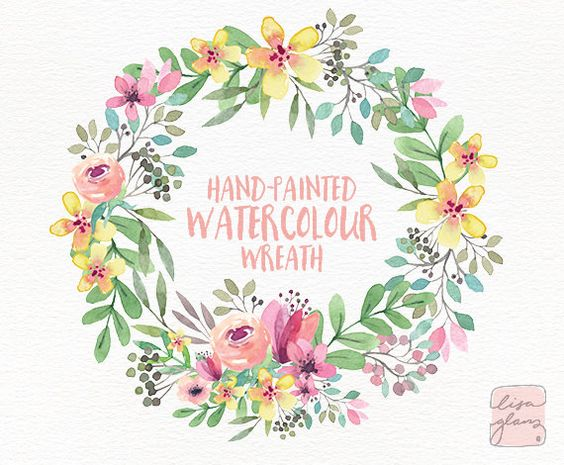 White flower green center watercolor clipart png clipart freeuse download Watercolor wreath: PNG floral wreath clipart / Wedding invitation ... clipart freeuse download