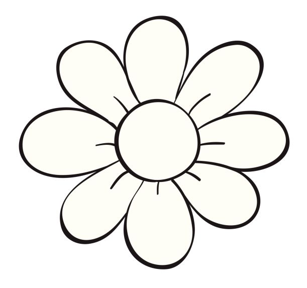 White flower petals clipart image black and white library 5 Petal Flower Clipart   Free download best 5 Petal Flower ... image black and white library