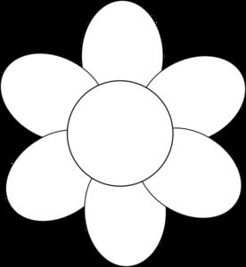 White flower petals clipart image freeuse library Flower Six Petals Black Outline clip art - vector clip art ... image freeuse library