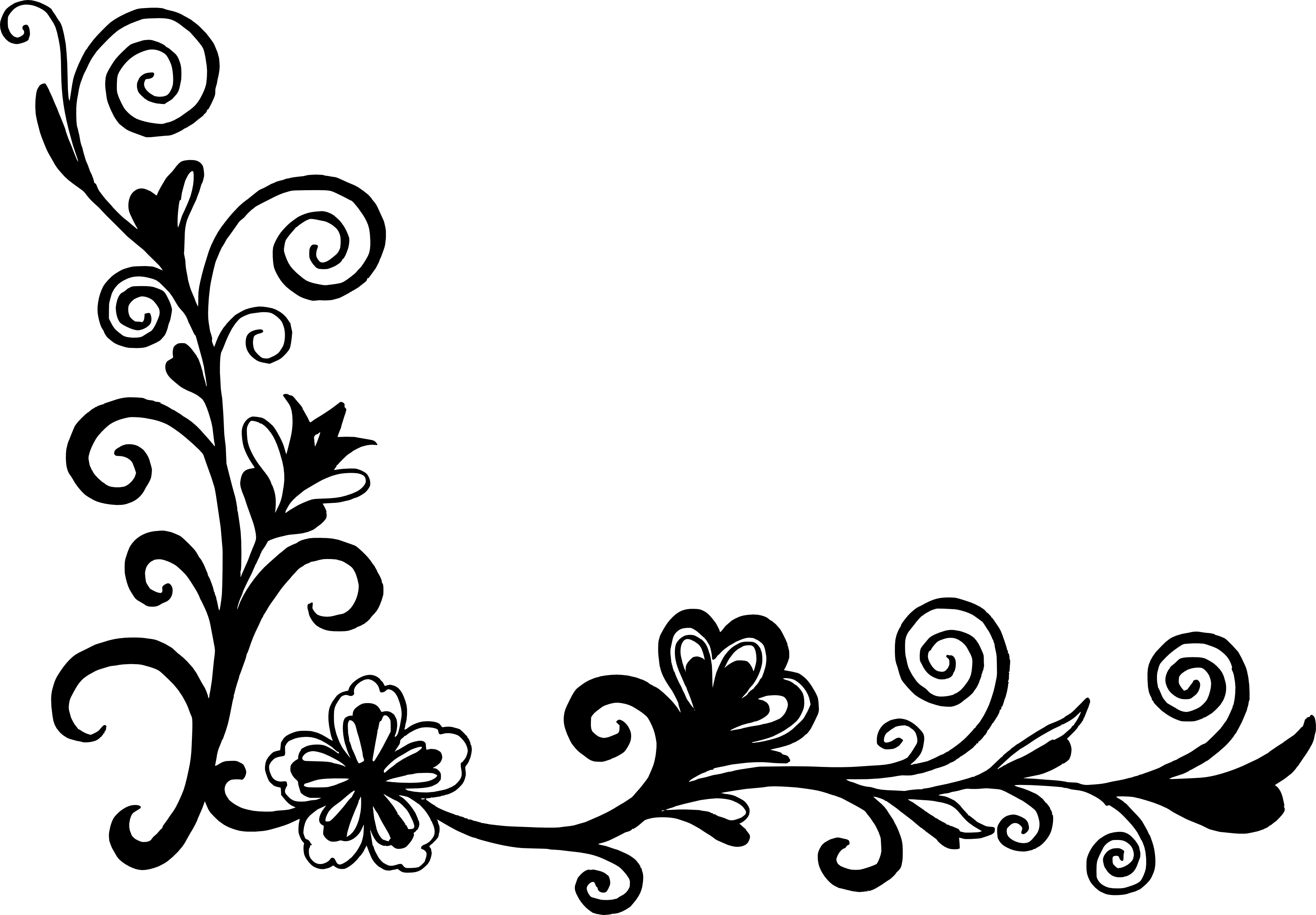 White flowers corner border clipart svg free stock Flower corner border black and white clipart images gallery ... svg free stock