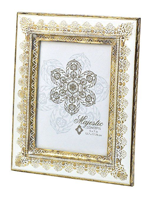 White frame gold trim clipart svg free download Concepts White Gold Flower Trim Resin Picture Frame 5x7 ... svg free download