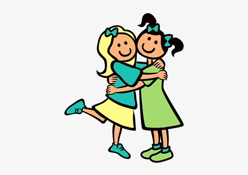 White friend clipart png picture black and white Girls-hugging - Friends Clipart Black An #347592 - PNG ... picture black and white