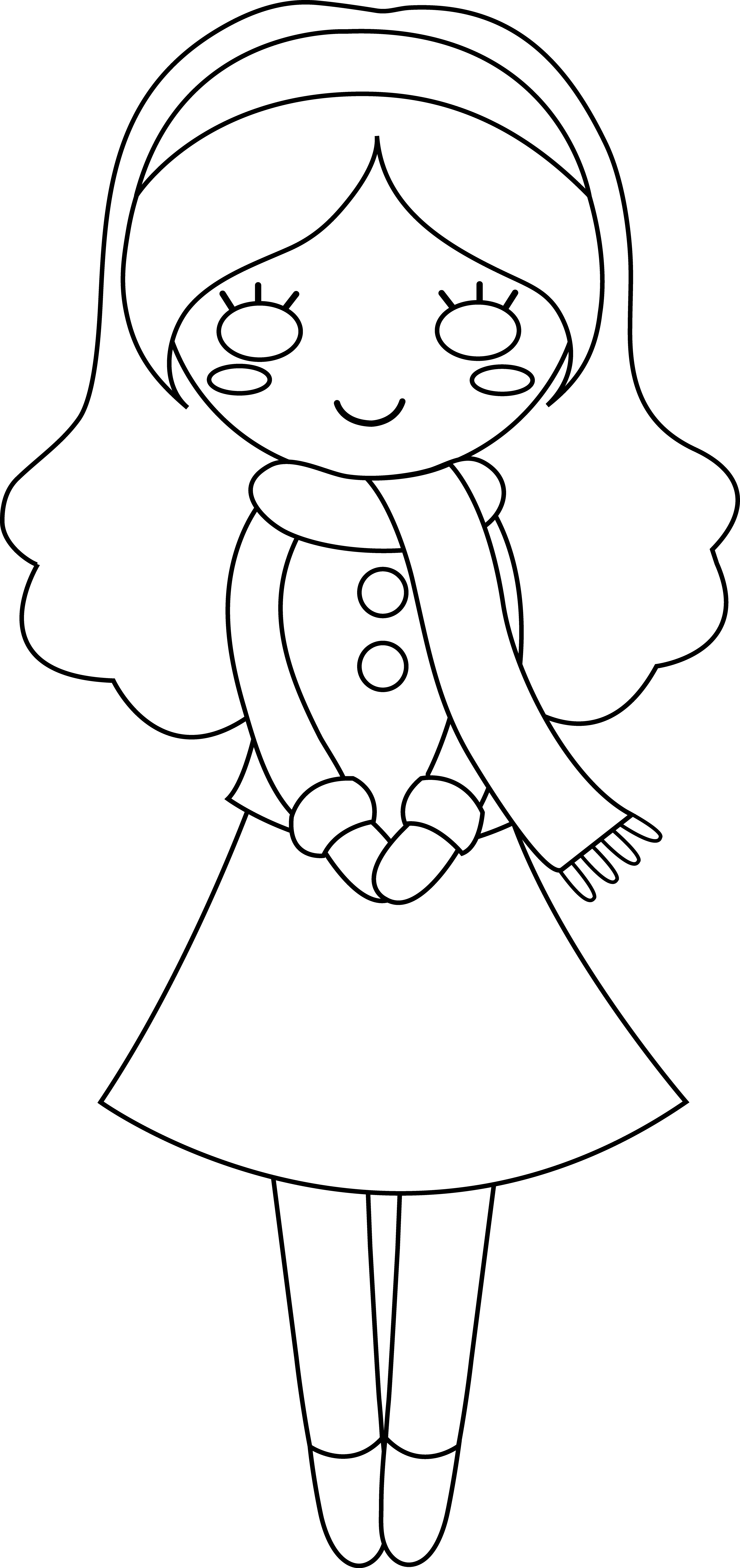 White girl scarf clipart transparent stock Cute Girl Colorable Line Art - Free Clip Art transparent stock