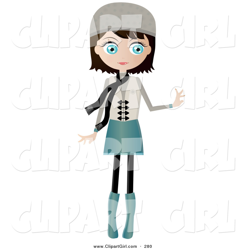White girl scarf clipart picture library Clip Art of a Black Haired, Blue Eyed White Woman Dressed in ... picture library