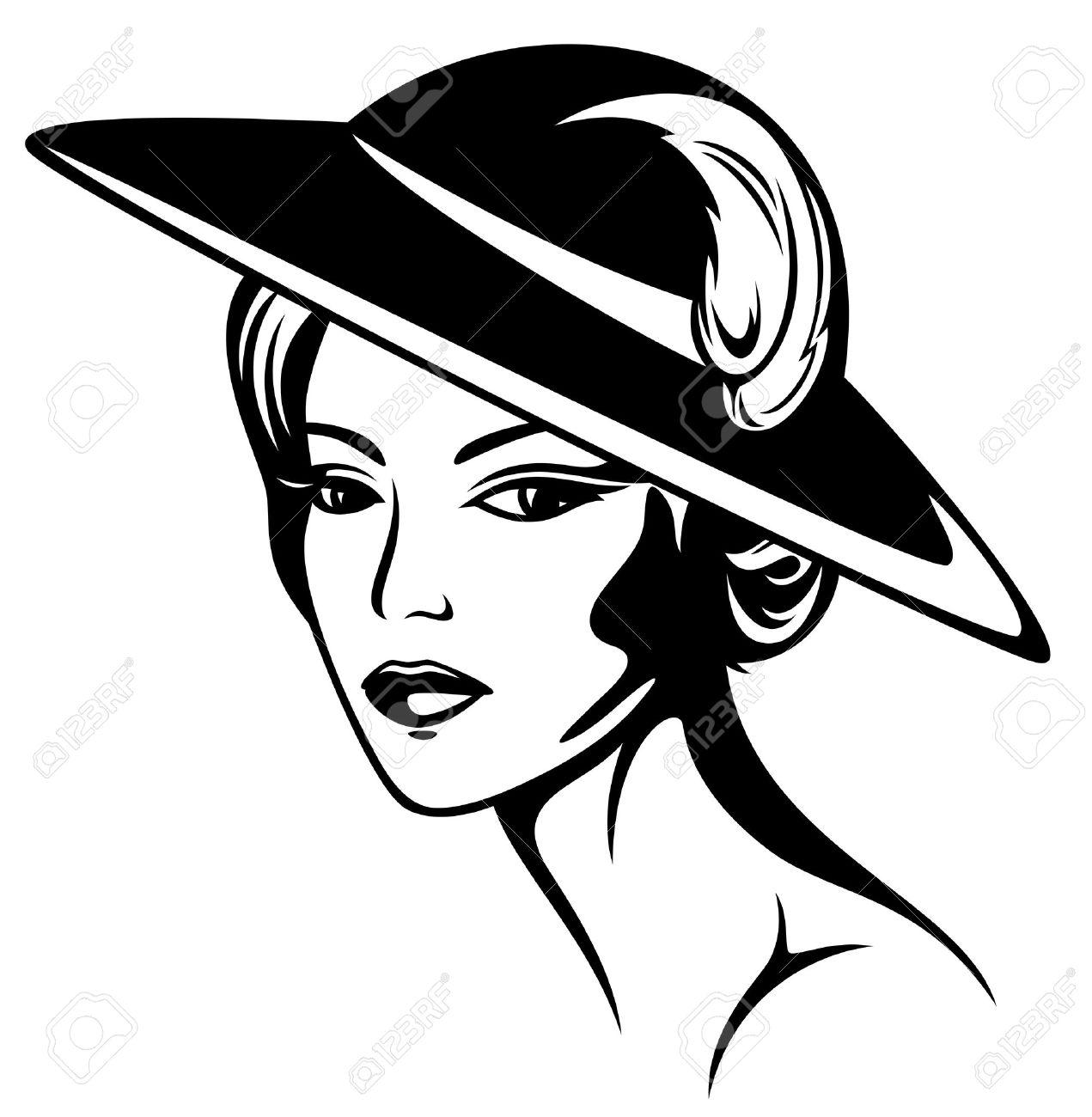 White girl scarf clipart jpg black and white Clipart of girl in hats and scarf black white - Clip Art Library jpg black and white
